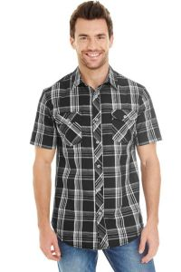 Burnside - Short Sleeve Plaid Pattern Woven - 9202